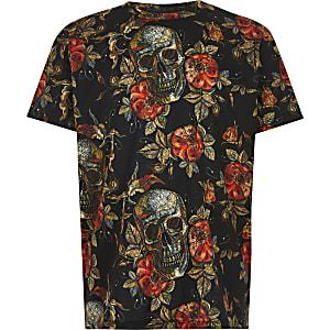 Zwart T-shirt met bloemen- en doodshoofdprint voor jongens