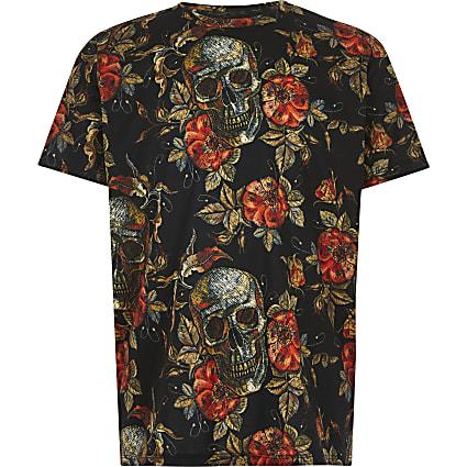 Boys black floral skull print T-shirt