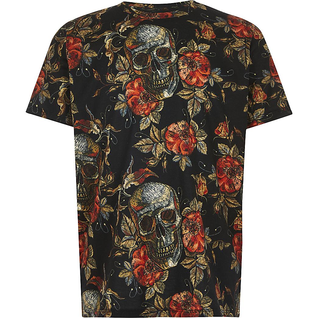 T-shirts noir à imprimé de tête de mort fleurie pour garçon