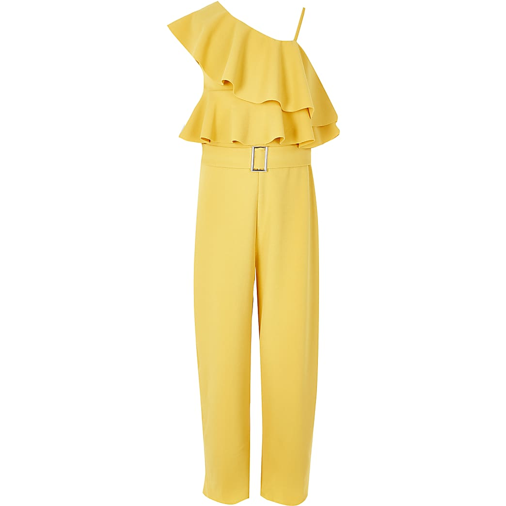 Girls yellow one shoulder frill jumpsuit