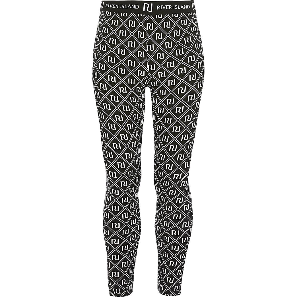 Girls black RI printed leggings