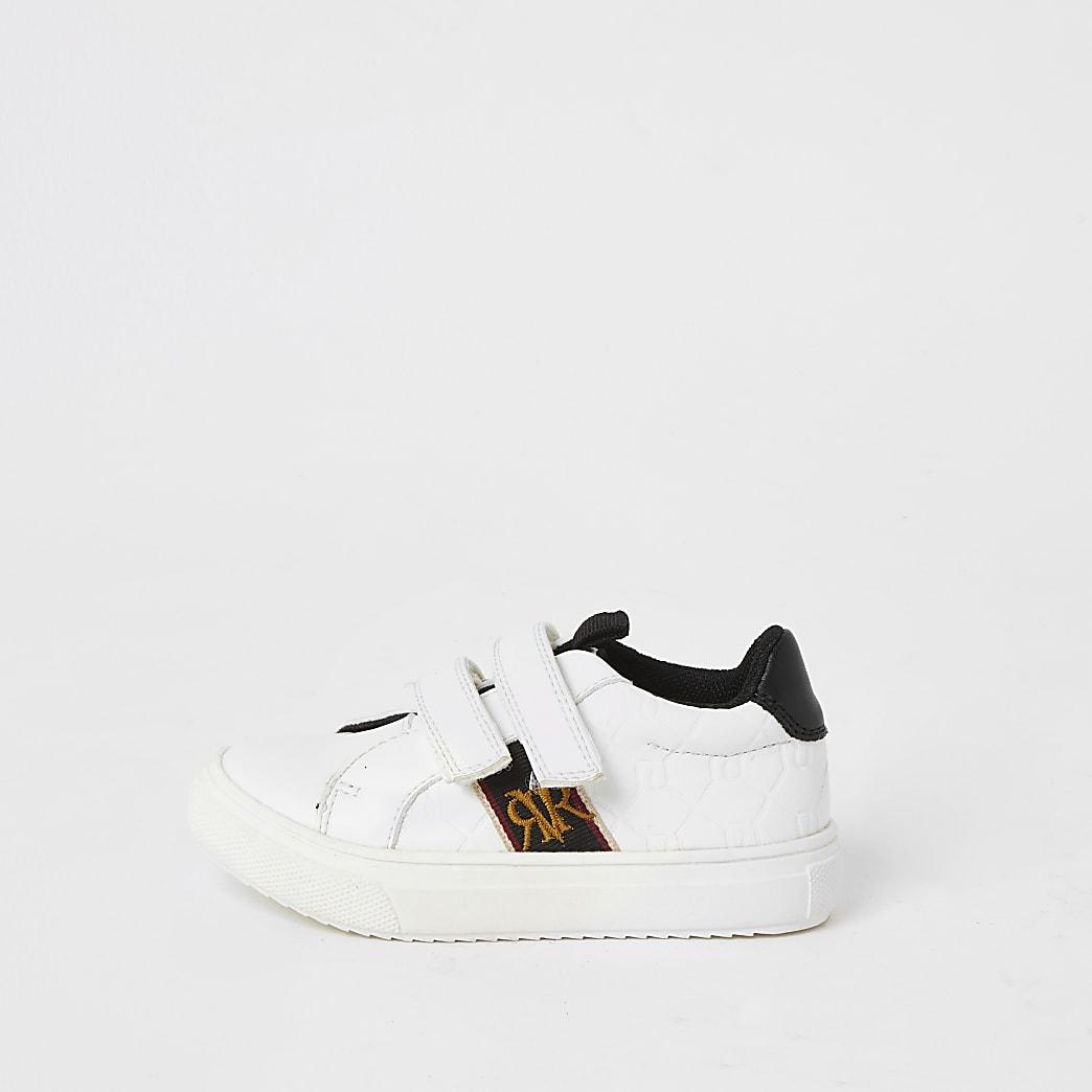 Mini boys white RI embossed velcro trainers