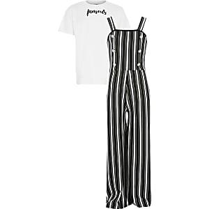 Gestreiftes Pinafore-Overall-Outfit in Schwarz für Mädchen