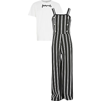 Girls black stripe pinafore jumpsuit outfit