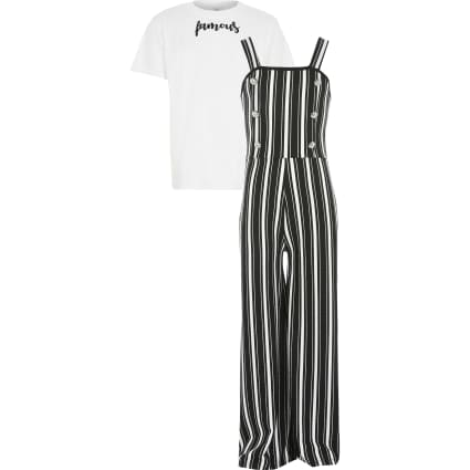 Girls black stripe pinafore jumpsiot outfit