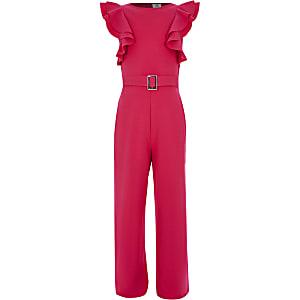 Roze jumpsuit met ceintuur en ruchemouwen voor meisjes