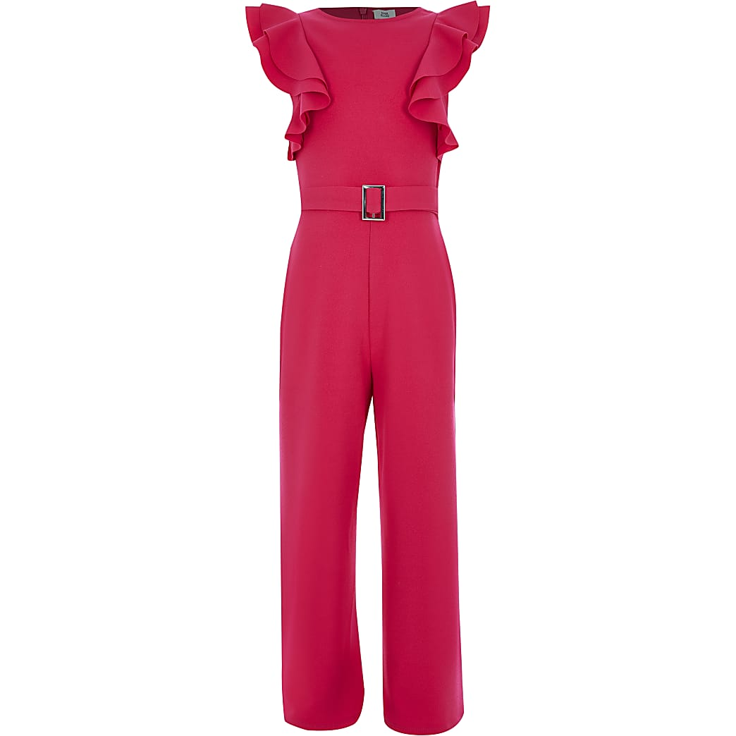 Girls pink frill sleeve belted jumpsuit