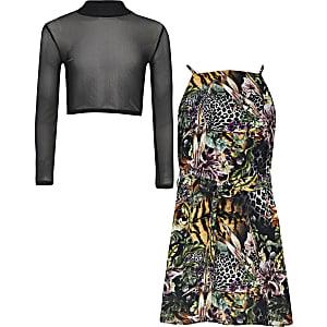 Hochgeschlossenes, schwarzes 2 in 1 Kleid mit Print für Mädchen