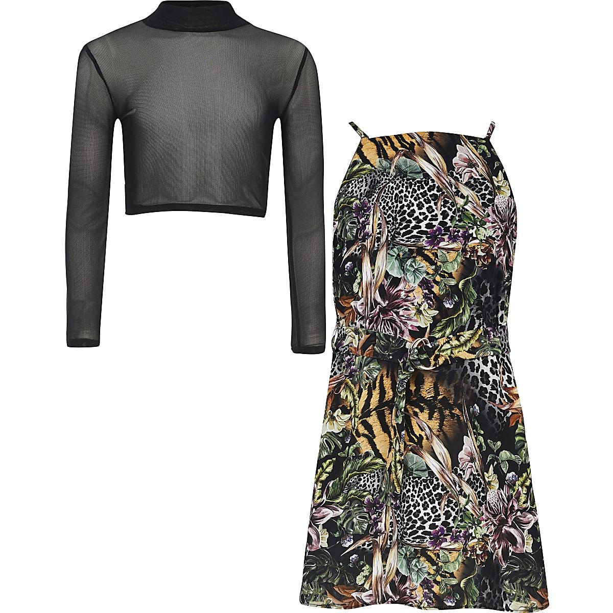 Zwarte 2-in-1 hoogsluitende jurk met print voor meisjes
