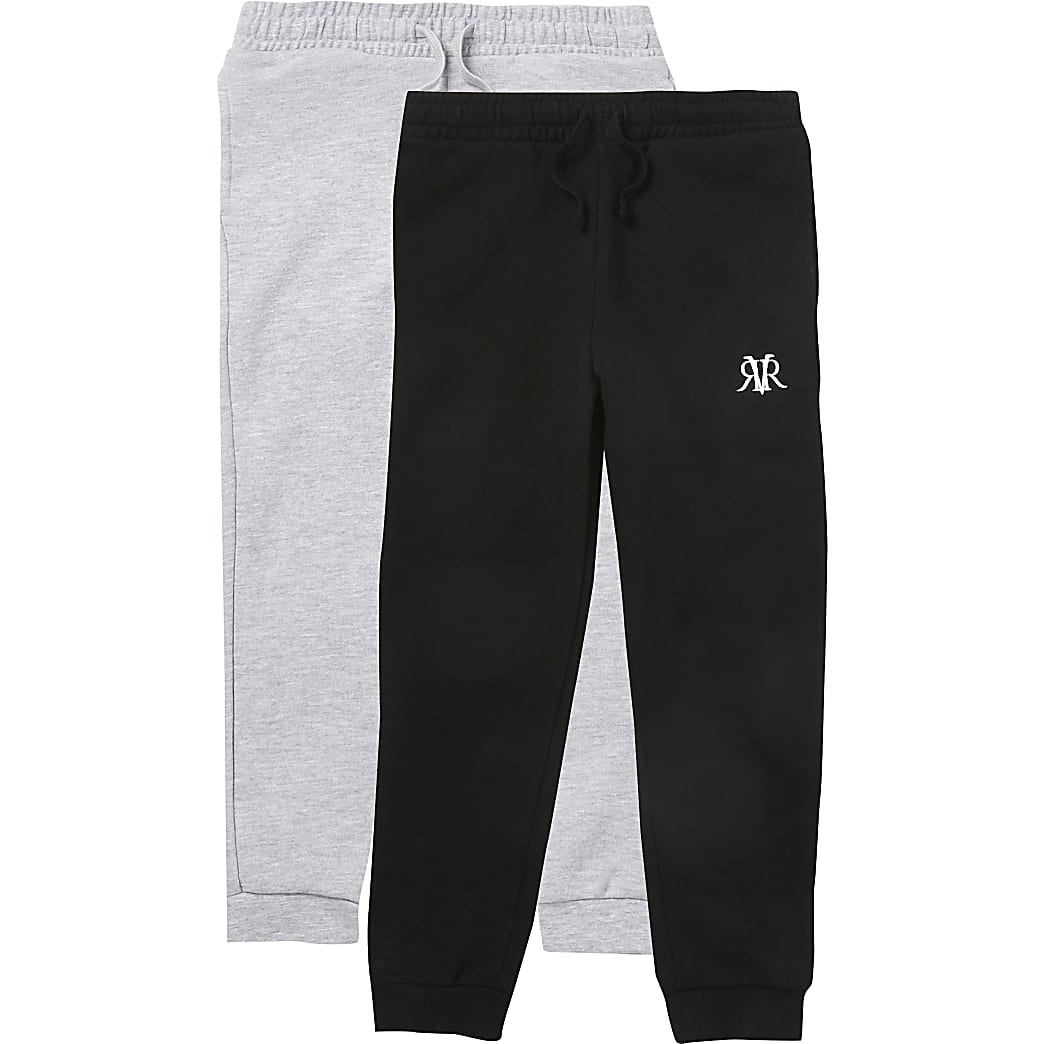 Boys black and grey RVR joggers 2 pack