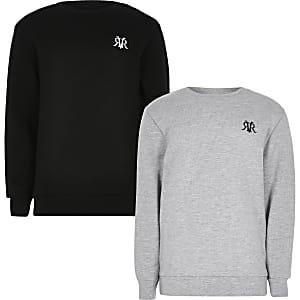 Set van 2 grijze sweatshirts met RVR-print voor jongens