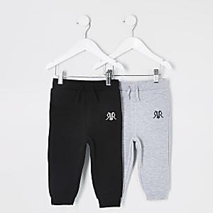 Mini - Set van 2 zwarte joggingbroeken met RVR-print voor jongens