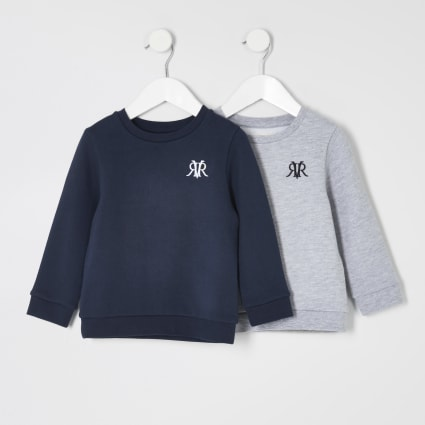 Mini boys navy RVR sweatshirt 2 pack