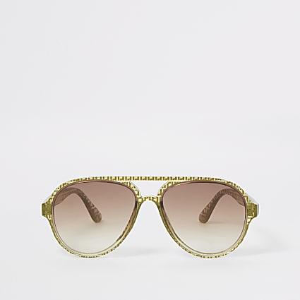 Boys khaki RI aviator sunglasses