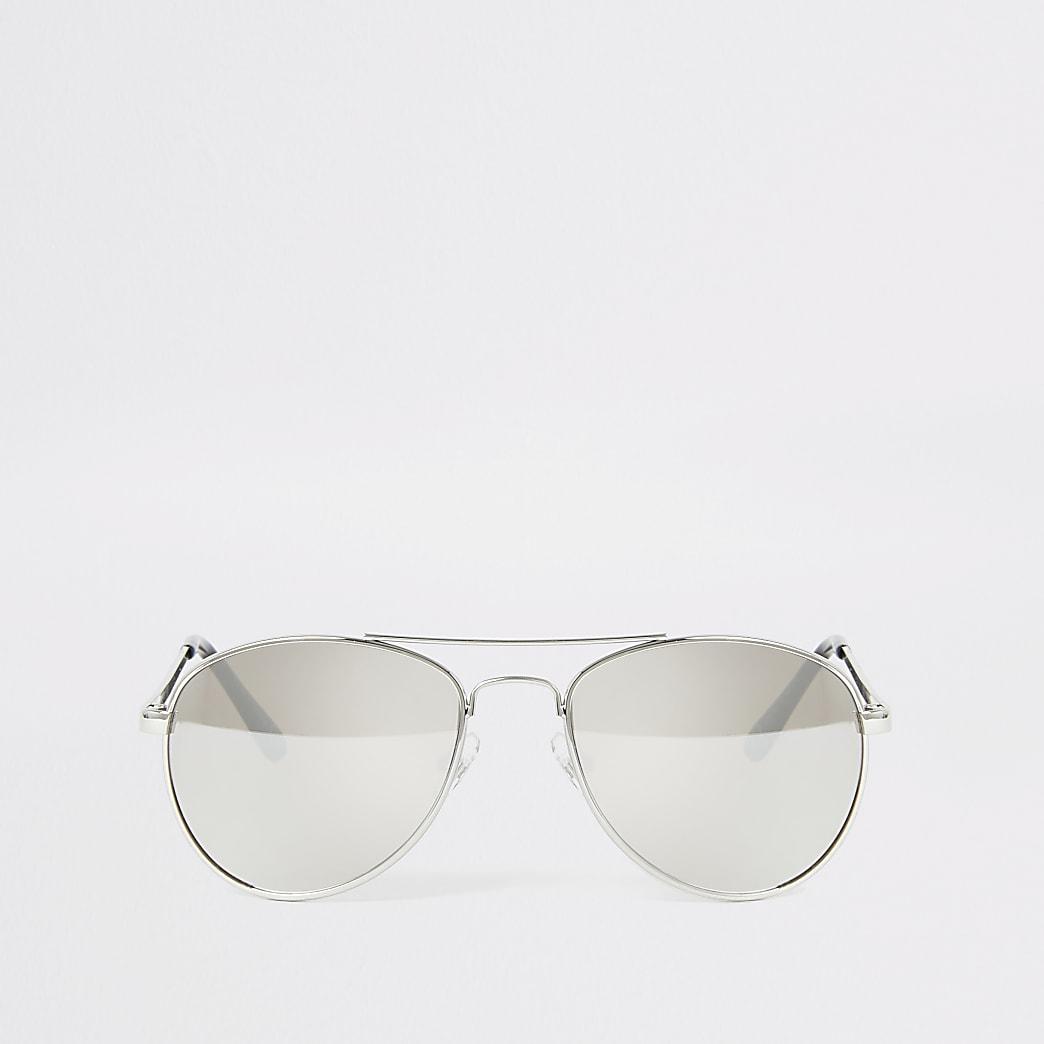Boys silver mirrored aviator sunglasses