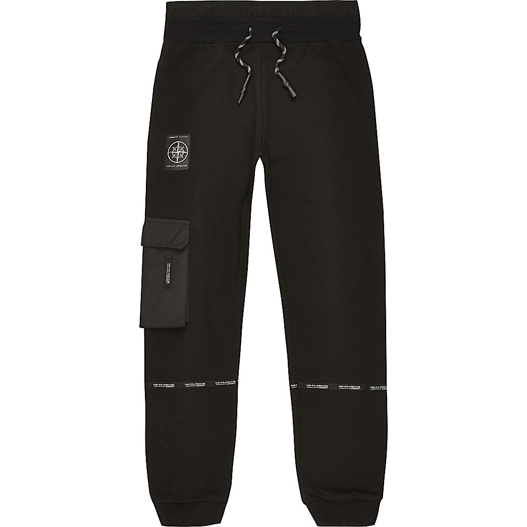 Boys black 'Concept' tape utility joggers