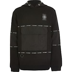 Zwarte utility hoodie met 'Concept'-folieprint voor jongens