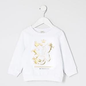 Mini - Wit sweatshirt met R in reliëf voor jongens