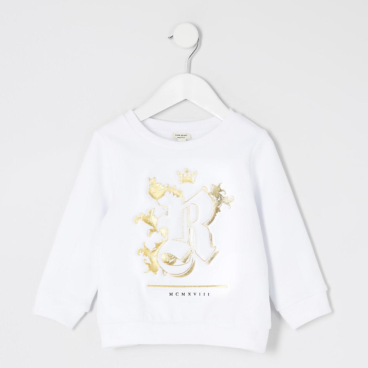 Mini boys white R embossed sweatshirt