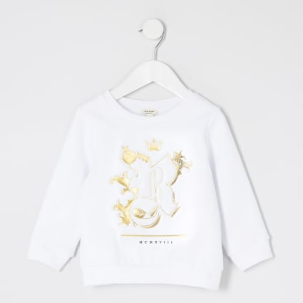 Mini boys white R embossed sweatshirt