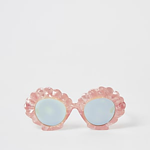 Mini girls pink shell shape sunglasses
