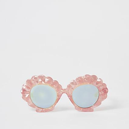 Mini girls pink shell shape sunglasses