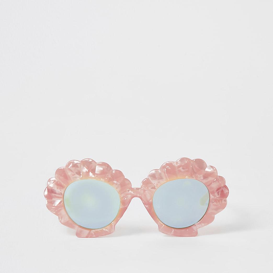 Mini - Roze zonnebril met schelpvormig montuur voor meisjes