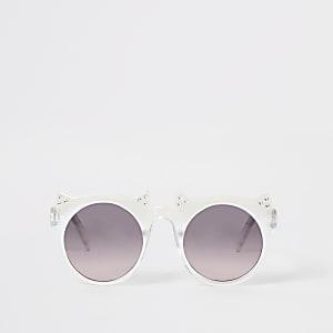 Mini - Witte zonnebril met kattenoortjes en siersteentjes voor meisjes