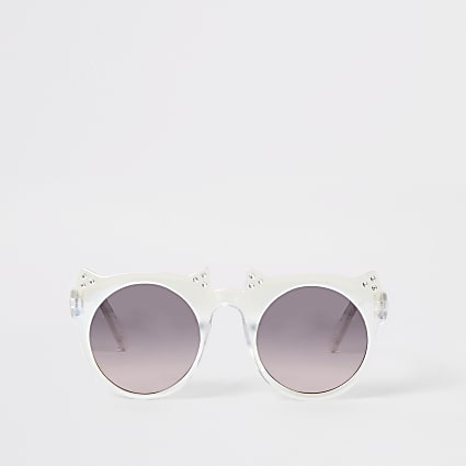 Mini girls white diamante cat ear sunglasses