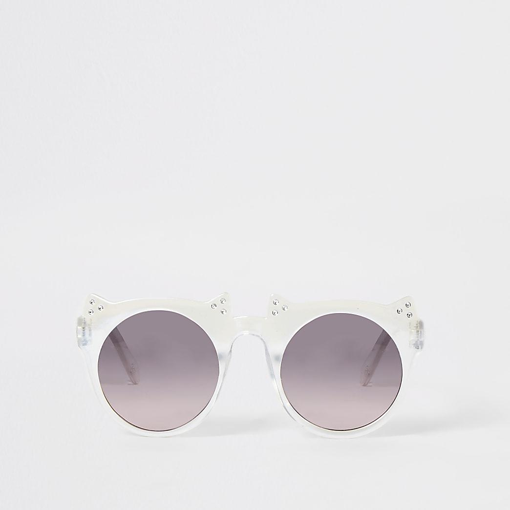 Mini girls white diamante cat ear sunglasses