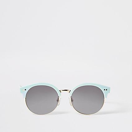 Girls blue round retro sunglasses