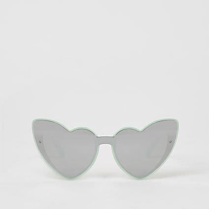 Girls green heart shape mirrored sunglasses