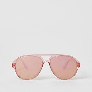 Lunettes de soleil aviateur rose vif effet miroir pour fille