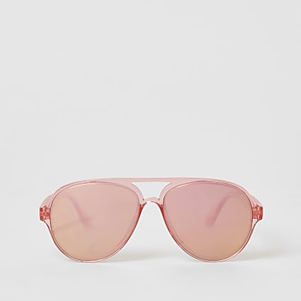 Girls bright pink mirrored aviator sunglasses