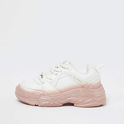 Mini girls white ombre chunky trainers
