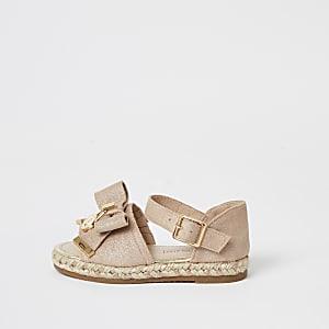 Sandales espadrilles roses avecnœud sur le devant Mini fille