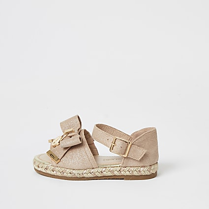 Mini girls pink bow front espadrille sandals