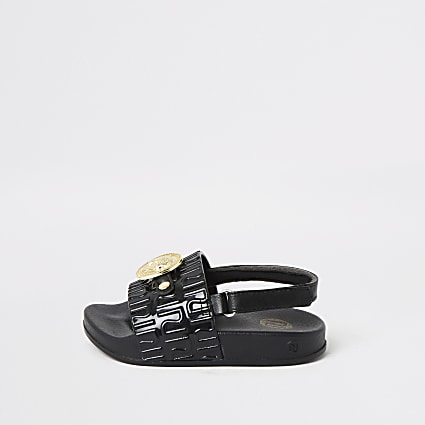 Mini girls black panther charm sandals