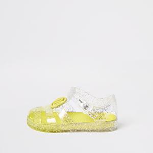 Mini – Gelbe Jelly-Sandalen mit Glitzer für Mädchen