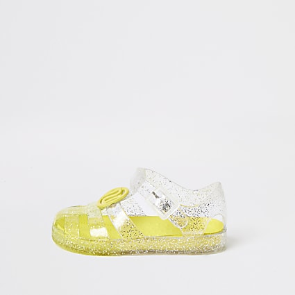Mini girls yellow glitter jelly sandals