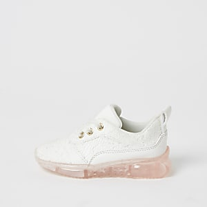 Mini girls white lace contrast sole trainers