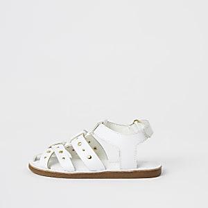 Mini – Weiße Riemensandalen mit Nieten für Mädchen