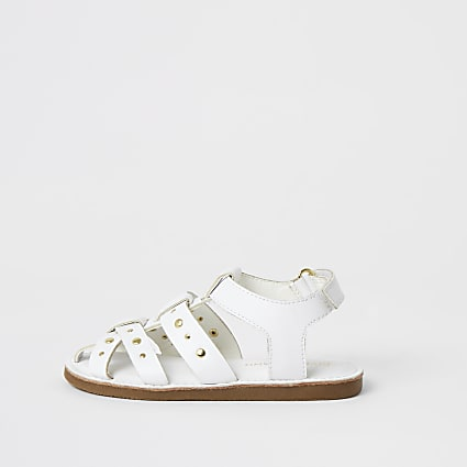 Mini girls white studded strappy sandals