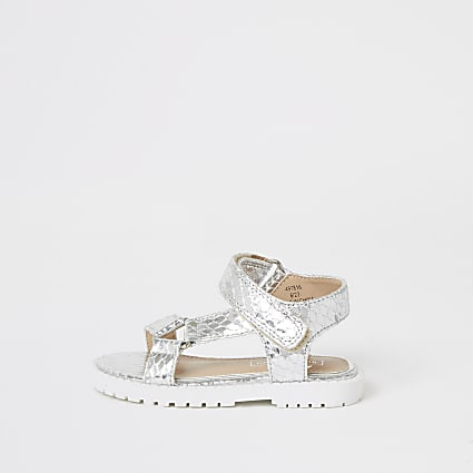 Mini girls silver velcro chunky sandals