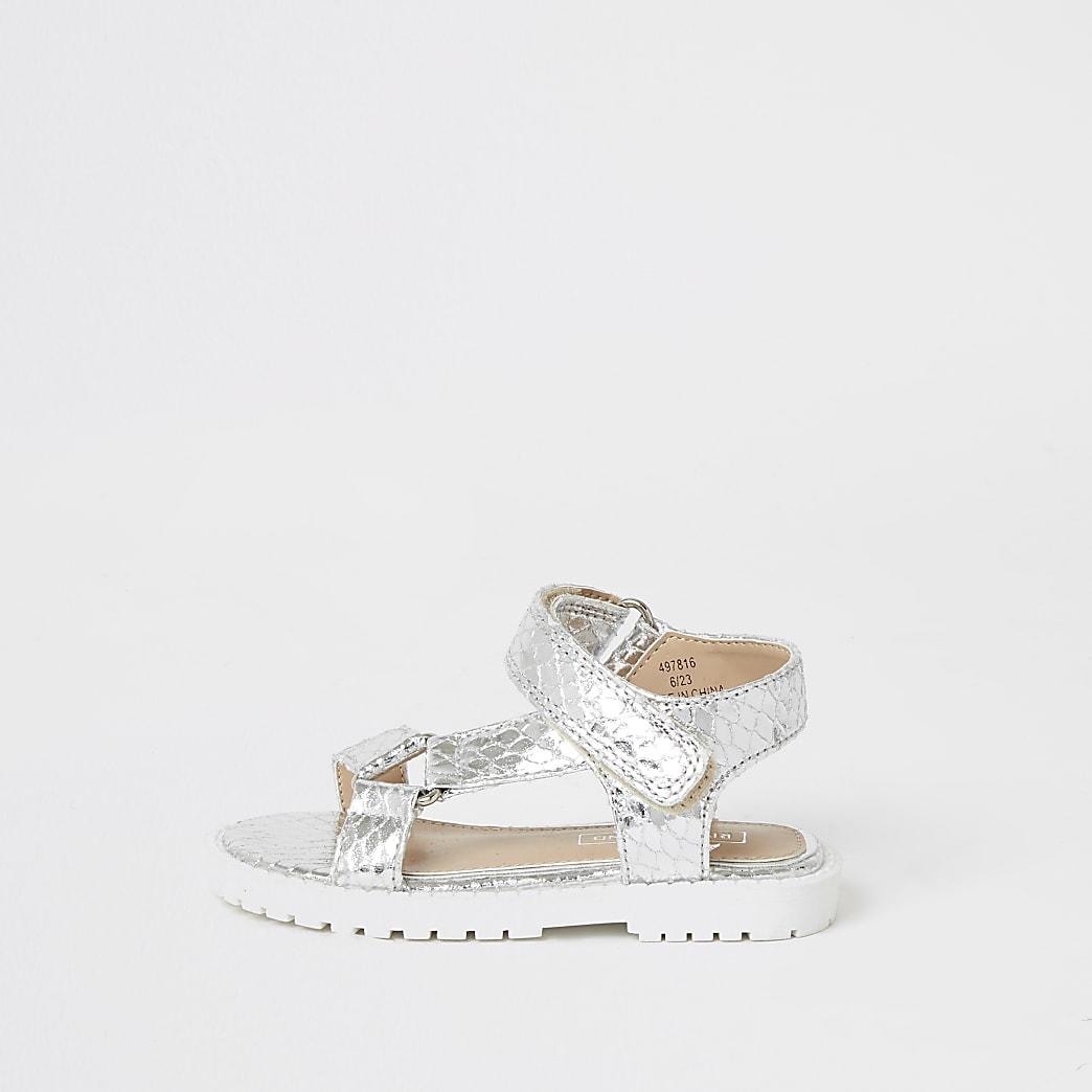 Mini - Zilverkleurige stevige sandalen met klittenband voor meisjes
