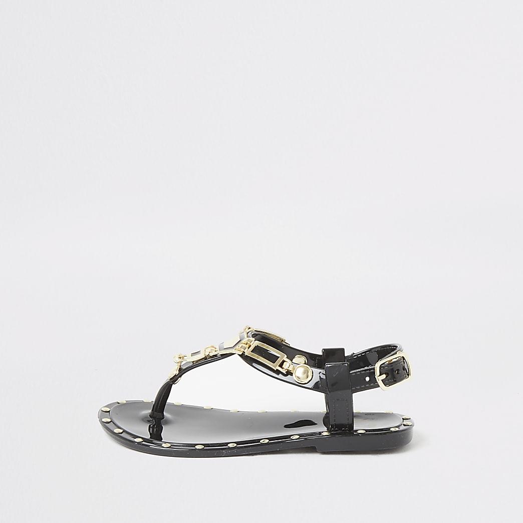 Mini girls black studded jelly sandals