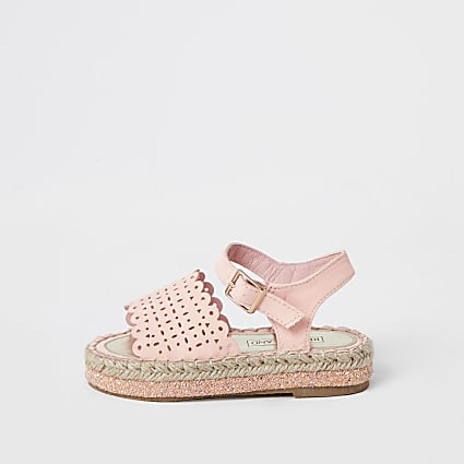 Mini girls pink cut out espadrille sandals