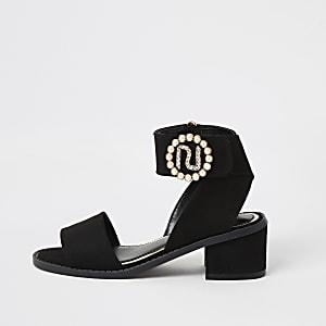 Schwarze RI-Sandalen mit Absatz und Perle für Mädchen