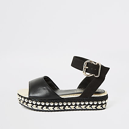 Girls black studded flatform sandals