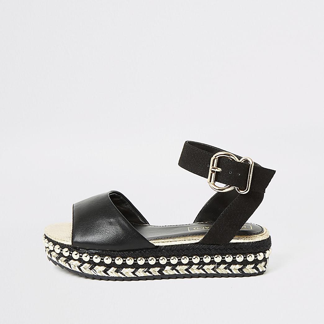 Girls black studded flatform sandals